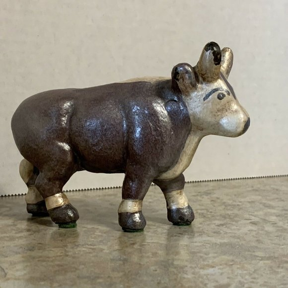 Cow Cast Iron Figurine FLAW Hand Painted